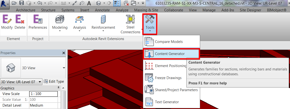 Revit Extension Part 1 – Content Generator