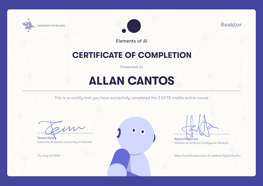 Elements of AI free online course – completed