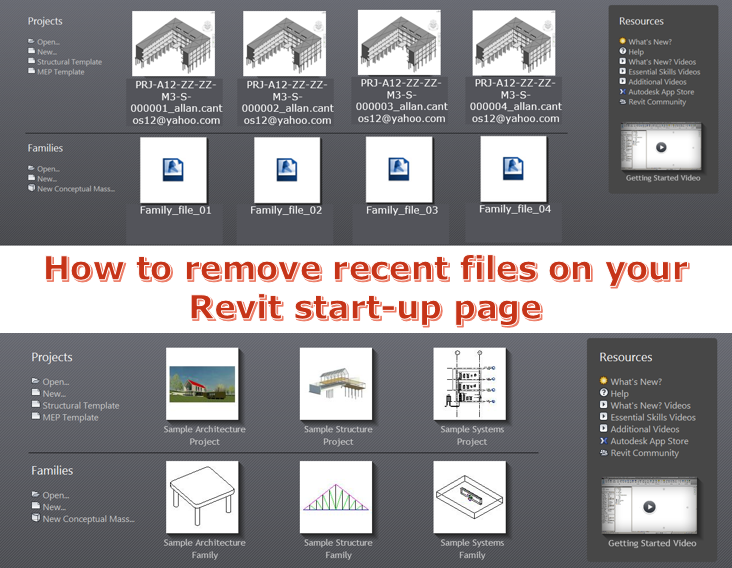 How to remove recent files on your Revit start-up page