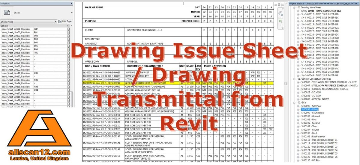 Drawing Issue Sheet / Drawing Transmittal from Revit