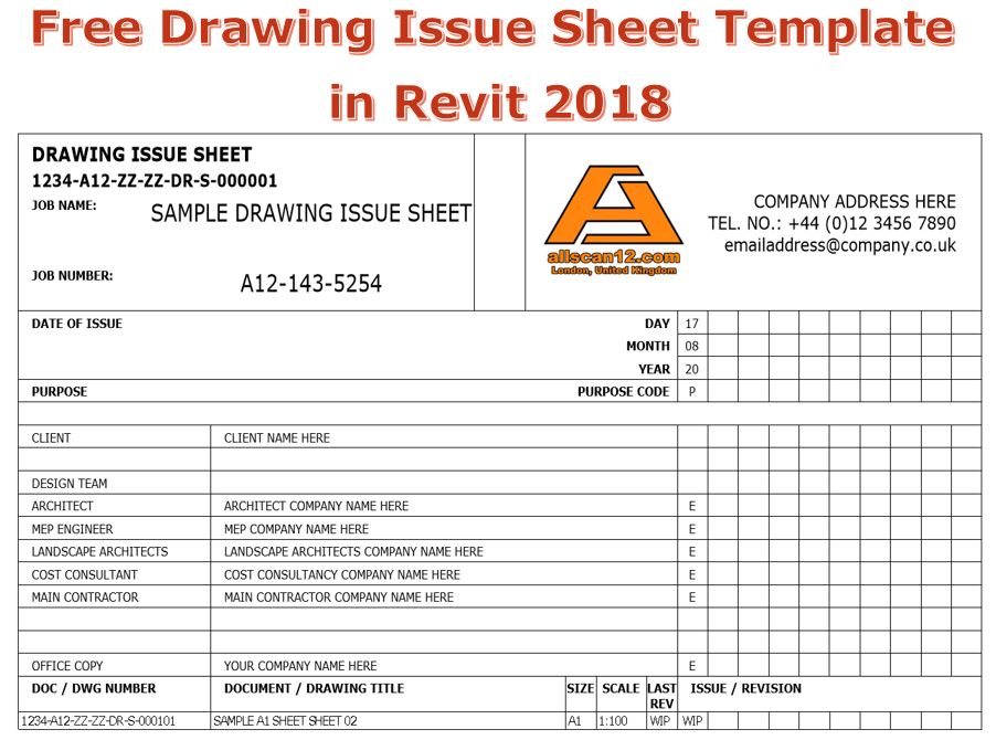 Free Drawing Issue Sheet Template in Revit 2018